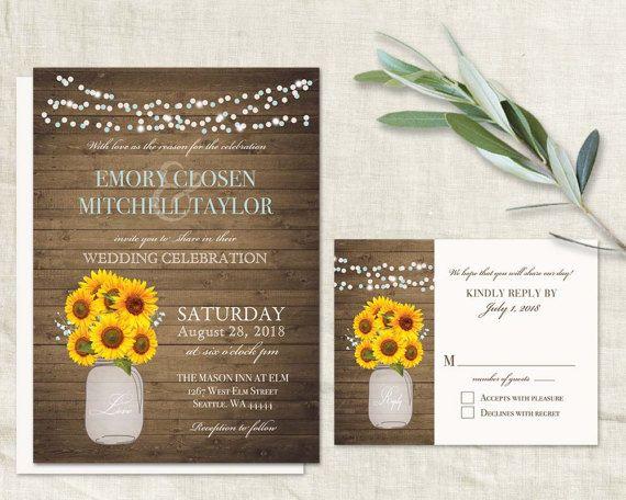 36 best Sunflower Wedding Invitations Unique and Creative Rustic