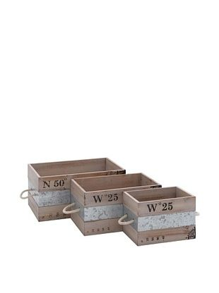 61% OFF Set of 3 Wooden & Metal Crates