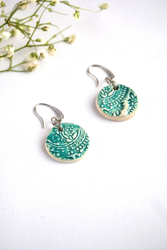 Rustic boho ceramic earrings, turquoise decorated jewel, handmade gift, statement earrings, gift for woman