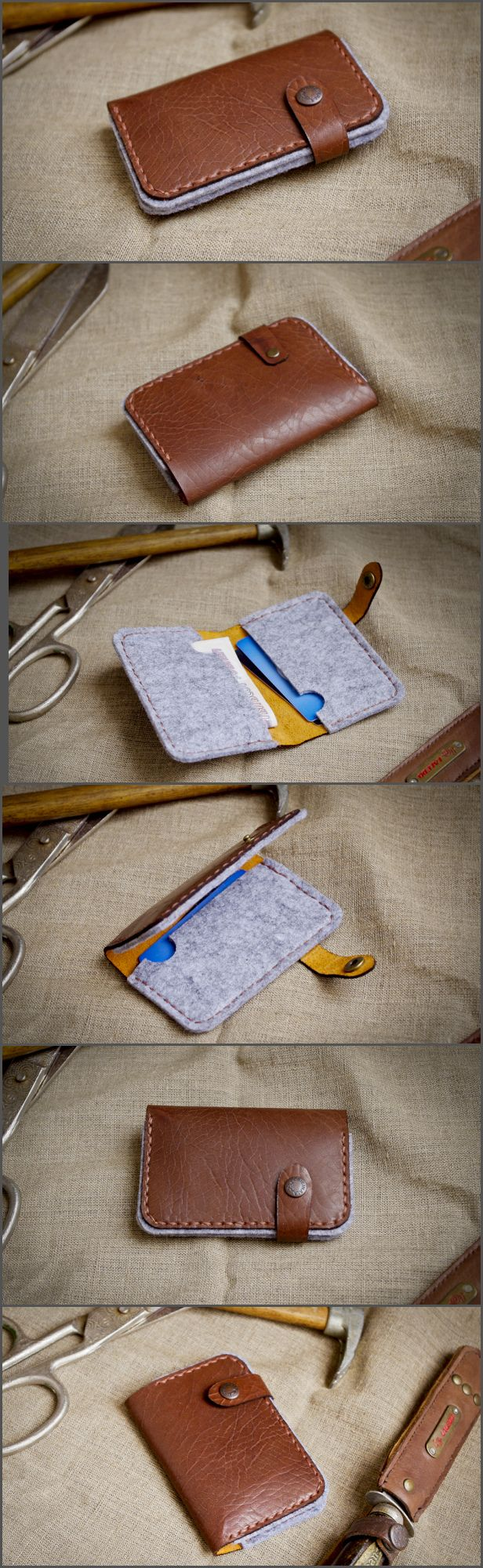 Визитница - картхолдер и по совместительству маленький кошелечек. Сделан в комбинации натуральной кожи и плотного листового фетра. Очень оригинального исполнения. Такого тут больше нет!  Прошито вручную вощеной нитью толщиной 1 мм.  Могу также сделать других цветов.  Легко помещается в карман рубашки или джинсов. Хорошая защита пластиковых карт, и защита от размагничивания! А так как фетр это те же валенки, ваши карты всегда будут в тепле и никогда не заглючат!  Отличный подарок любимому…