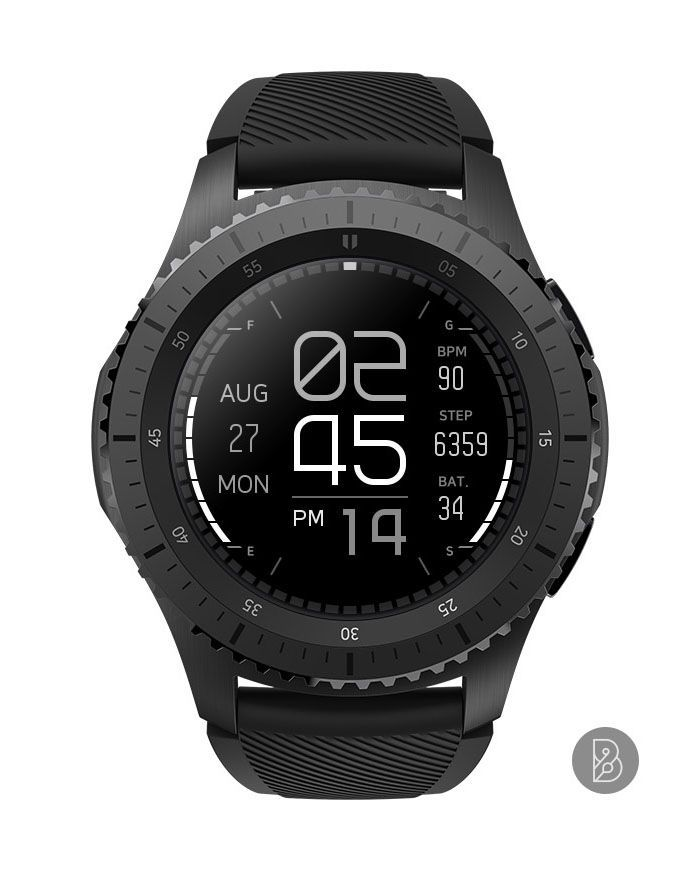 TECHON Watch face for Samsung Gear S3 S2. Watchface by
