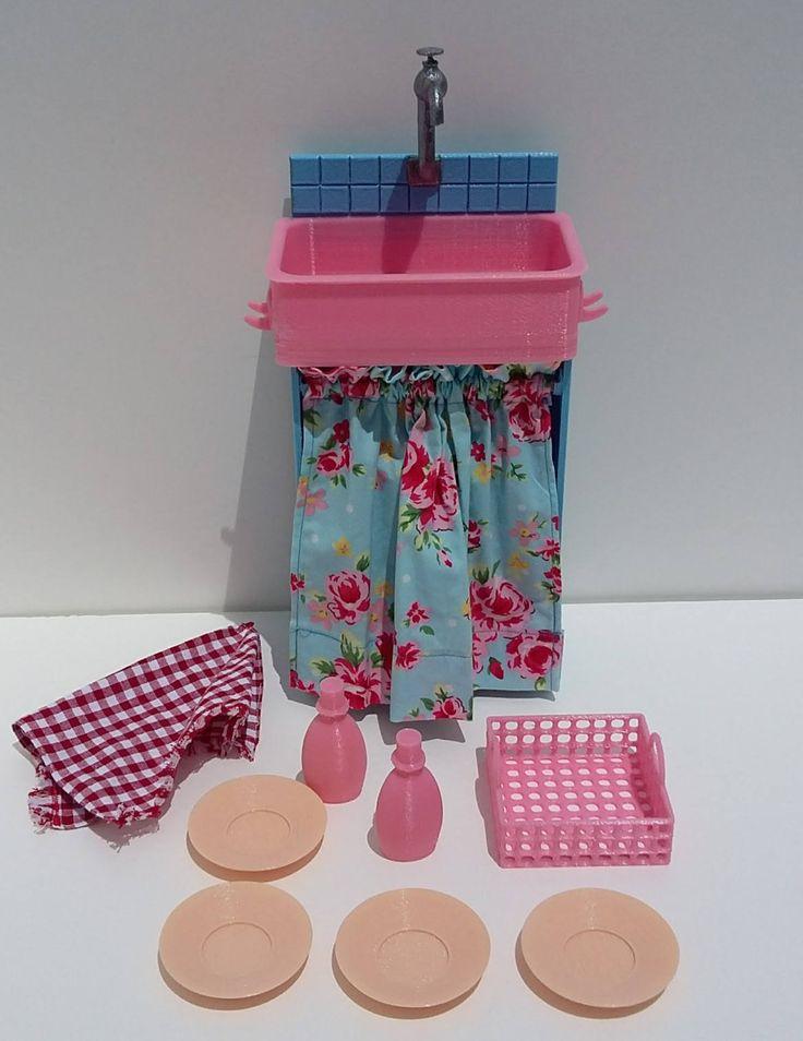 Lavabo da cucina per bambole alte 46 cm.