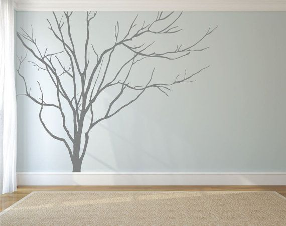 Realistic Winter Tree Wall Decal Headboard Wall Decal Home Decor Stick on Wall Art by DecalIsland - Winter Tree Decals for Walls SD 051