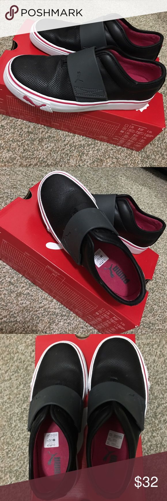 Puma El Rey Women Slip-on Very good condition! Only wore them once. Still clean. Size 6. Very comfortable shoes. Good pair of shoes to go out anywhere 😊. All black and white with bright pink trimming. Puma Shoes Sneakers