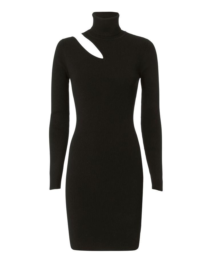 West Dress Cutout Black Turtleneck Dress