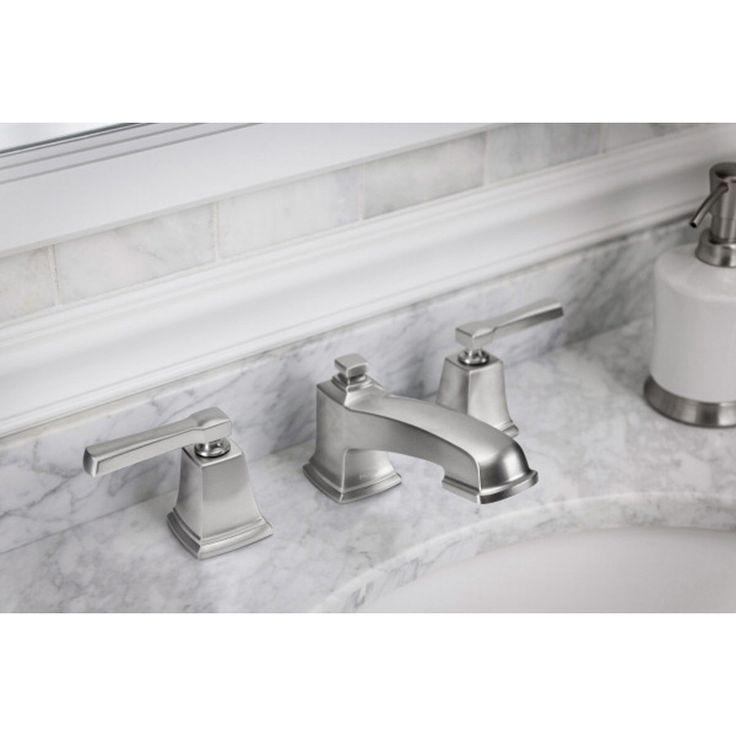 Shop Moen Boardwalk Spot Resist Brushed Nickel 2-Handle Widespread WaterSense Bathroom Faucet (Drain Included) at Lowes.com