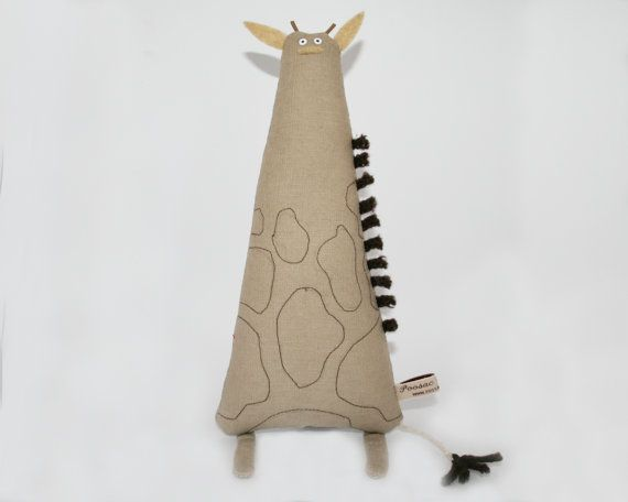 Giraffe Art Doll Hand-Embroidered Giraffe Stuffed Animal by poosac