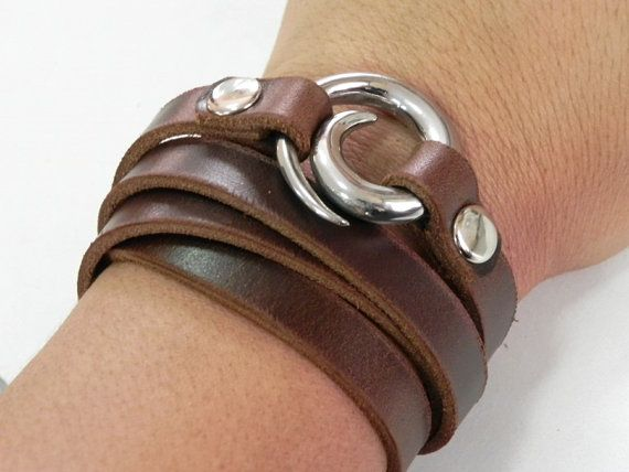 Leather Bracelet Leather Cuff Wrap Bracelet Brown by BeadSiam, $14.50