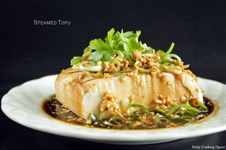 Steamed Tofu. Love this refreshing vegetarian side dish. Sometimes have it with a coddled egg for breakfast, too.