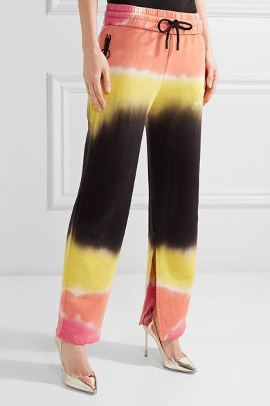 Off-White - Printed Tie-dyed French Cotton-terry Track Pants - Yellow - xx small