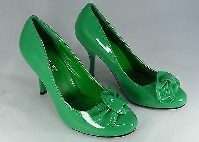 Damenschuhe High Heels Lack-Pumps Grün Gr.38 Pfennigabsatz 9cm /1945 in Kleidung & Accessoires, Damenschuhe, Pumps | eBay