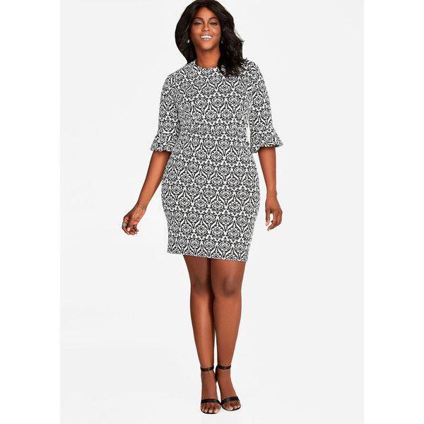 Ashley Stewart Bell Sleeve Print Sheath Dress ($55) ❤ liked on Polyvore featuring dresses, ashley stewart dresses, womens plus dresses, plus size print dress, plus size sheath dress and women plus size dresses