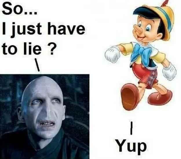 Pinocchio's advice to Voldy.   33 Harry Potter Jokes Even Muggles Will Appreciate