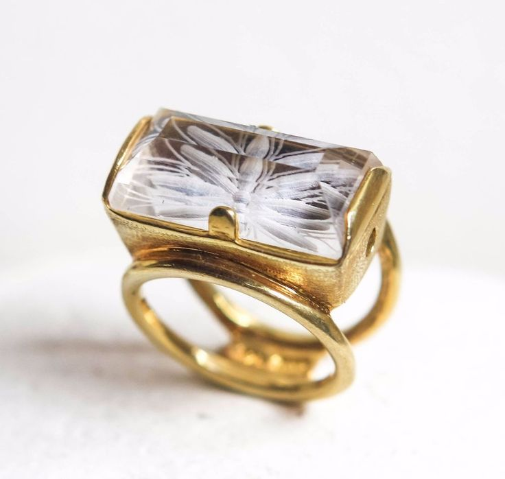 intaglio flower crystal quartz sterling silver gold plated ring, Greek jewelry #Engagement