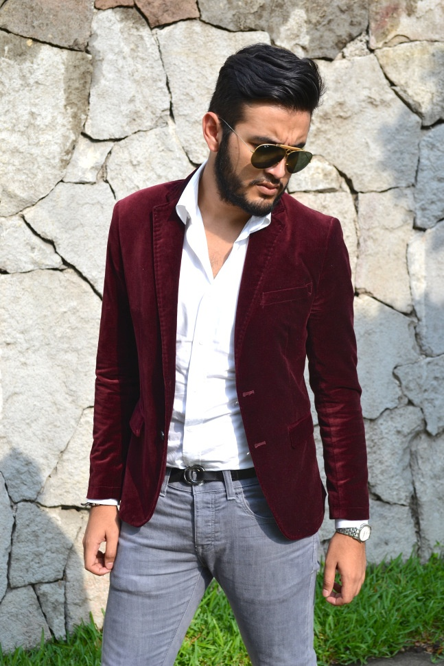 Burgundy Blazer: Zara White Shirt: Zara Gray Pants: BSK Shooter ...
