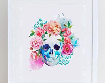 Bull Skull Art Print Instant Download  Printable by DecorartDesign