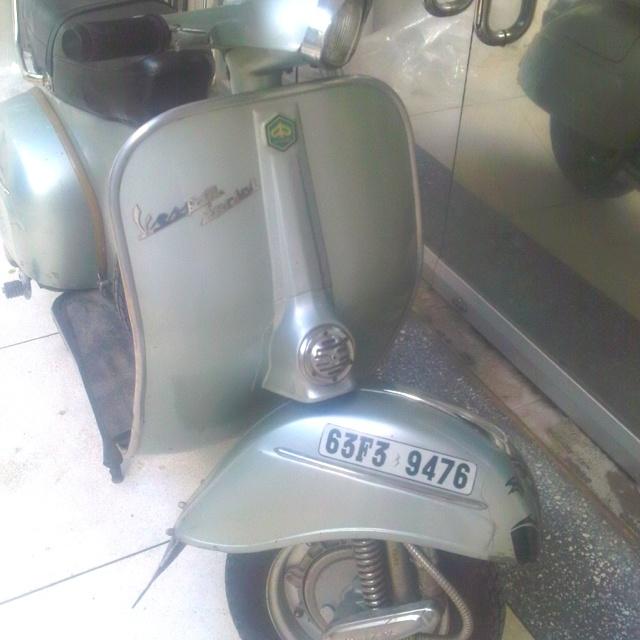 My Vespa 1968 vbc before restoration changing head light back to original round style