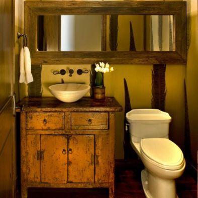 Wooden dresser...vanity/vessel sink...Old dresser