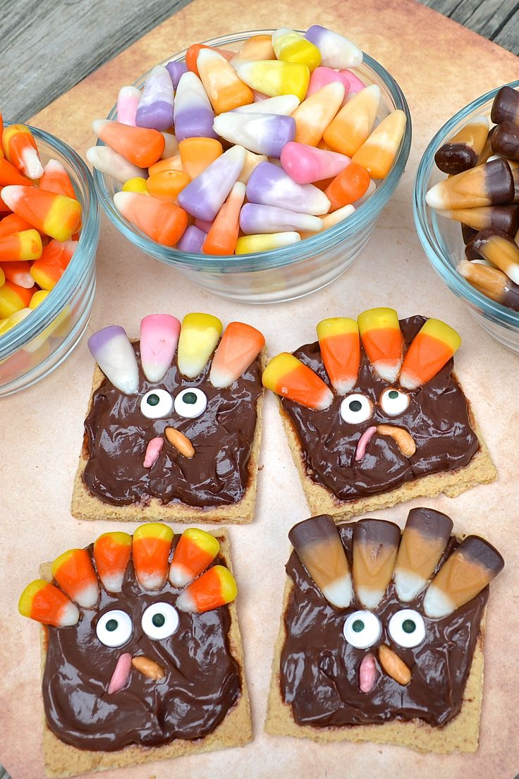 """I just love turkey time of year! These fun Turkey Snacks for kids are super cute to make for classroom treats and even to let the kids design their own turkeys!! You can easily adjust this as needed. Brach's sent us all sorts of delicious flavors of candy corn to use for our turkey """"feathers"""" …"""