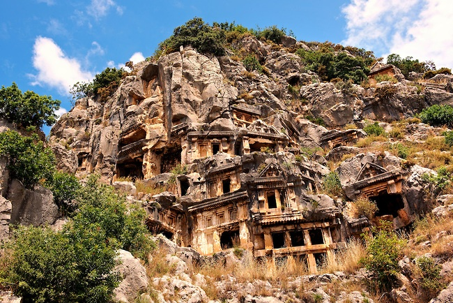The ancient Lycian rock cut tombs town of Myra, Anatolia, Turkey.