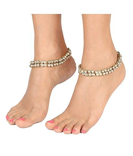 The Jewelbox Traditional Gold PLated American Diamond Kundan Anklet Pair For Women