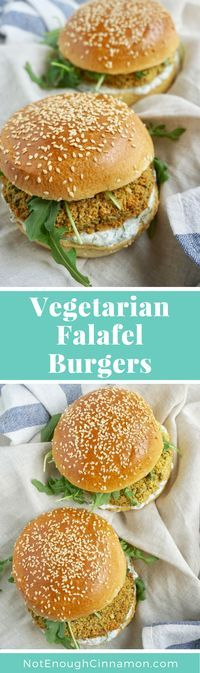 A vegetarian burger made of falafel (chickpeas!). So delicious and healthy! Recipe on NotEnoughCinnamon.com #cleaneating Easy gluten free and vegan options
