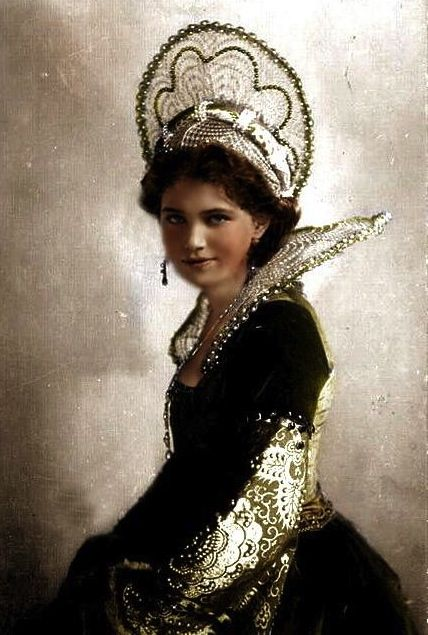 Grand Duchess Maria Nikolaevna Romanova of Russia (1899-1918 AD) in historical costume.   Photoshopped and colored.  The original pictures (body) from Lorivintage55