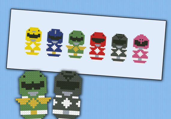 Power Rangers parody  Cross stitch PDF pattern by cloudsfactory, $5.00