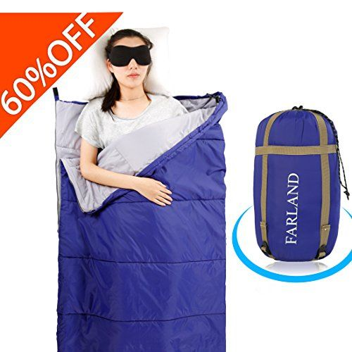 FARLAND Lightweight Sleeping Bag& Portable Waterproof Envelope Bag With Compression Sack -Perfect For Summer Traveling, Camping, Hiking,Outdoor Activities(Dark Blue / Right Zip). For product info go to:  https://all4hiking.com/products/farland-lightweight-sleeping-bag-portable-waterproof-envelope-bag-with-compression-sack-perfect-for-summer-traveling-camping-hikingoutdoor-activities-dark-blue-right-zip/