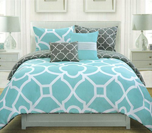 Max Studio Lattice Quatrefoil Pattern King Duvet Cover And