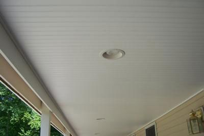 Shelly shows how she installed a vinyl beadboard ceiling on her front porch and shares her photos depicting the project.