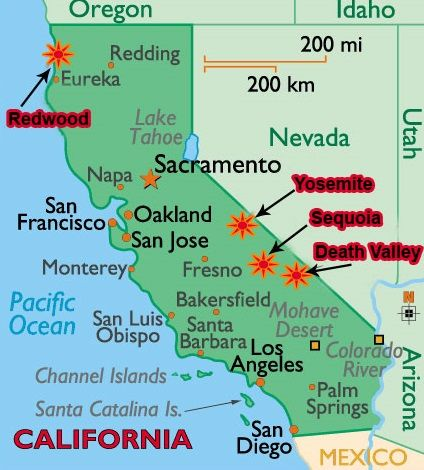 Mappa Yosemite National Park California USA Cerca Con Google - Mapa de california usa