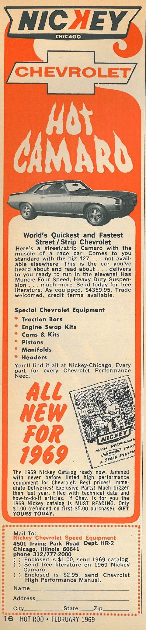 Vintage Chevrolet Camaro Ad - Chicago Dealership