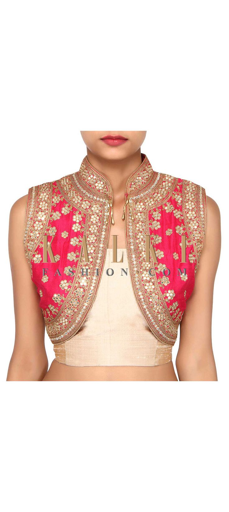 Buy Online from the link below. We ship worldwide (Free Shipping over US$100). Product SKU - 275667. Product Link - http://www.kalkifashion.com/pink-shrug-features-with-mirror-embroidery-only-on-kalki.html