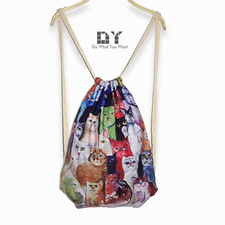 Vans Cat Backpack | ... backpack-Harajuku-style-cartoon-cat-bag-printed-canvas-bags-wholesale