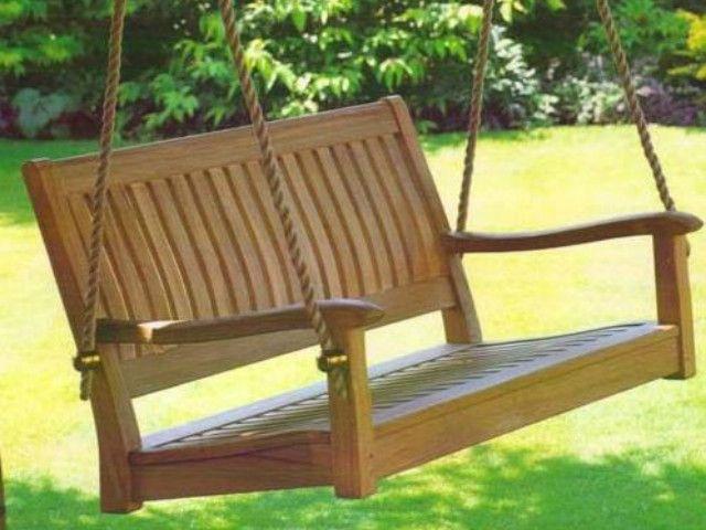 All Things Cedar Curved Back 4 Foot Teak Porch Swing