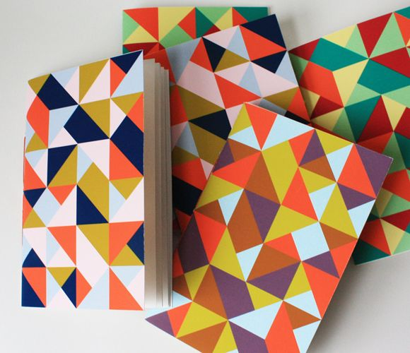 Triangle Jotters: Books Covers, Quilts Patterns, Geometric Prints, Prints Ideas, Triangles Graphics Design, Triangles Jotter, Notebooks, Colors Schemes, Triangles Patterns