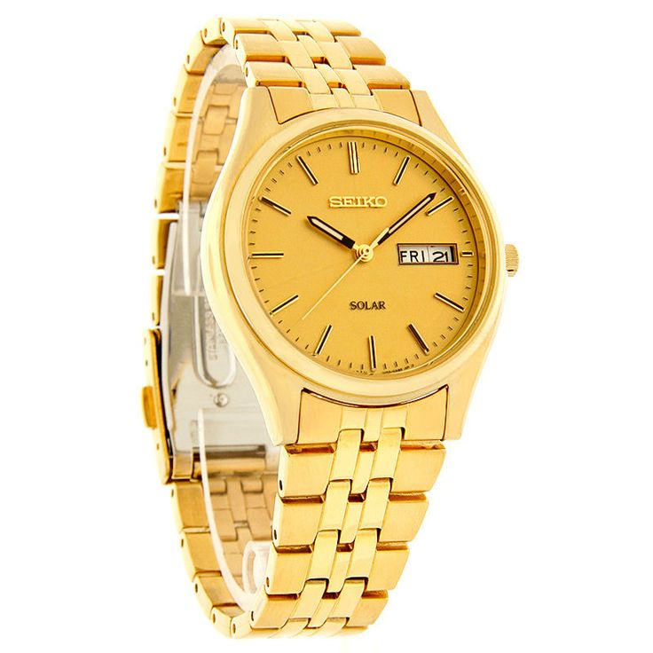 Seiko Solar Quartz Mens Day/Date Dial Gold Tone Bracelet Watch SNE036