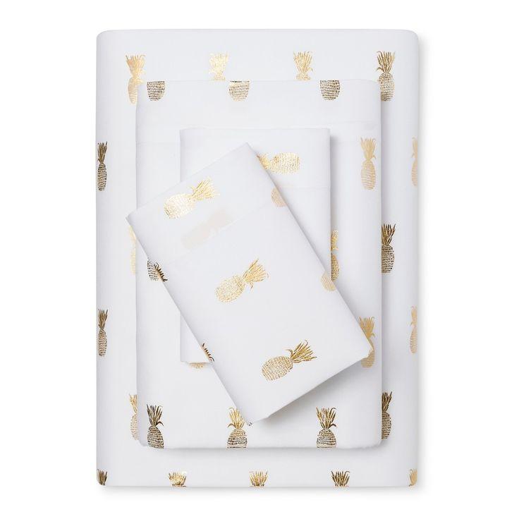 Microfiber Sheet Set (Queen) Gold Foil Pineapple   Room Essentials