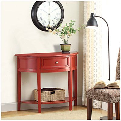 Want for entry dining room red semi circle accent table at big lots ideas for the new apt for Annifern poster bedroom collection