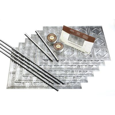 "Fasade Traditional 18.25"" x 24.25"" PVC Backsplash Panel Kit in Crosshatch Silver"