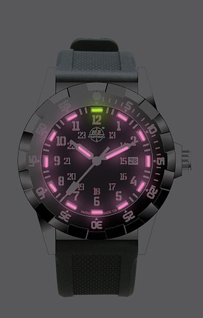 "This is a ""boyfriend size"" women's watch from H3 Tactical with the very rare HOT PINK Tritium Illumination!"