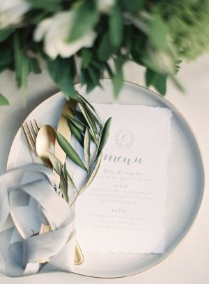 I like the style of this plate (very subtle gold rim, which will match our invites) and the matte gold cutlery. Color scheme, overall, is a win. I also like the plate shape. - Maria
