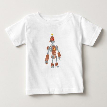brown robot with lamp head baby T-Shirt - tap, personalize, buy right now!