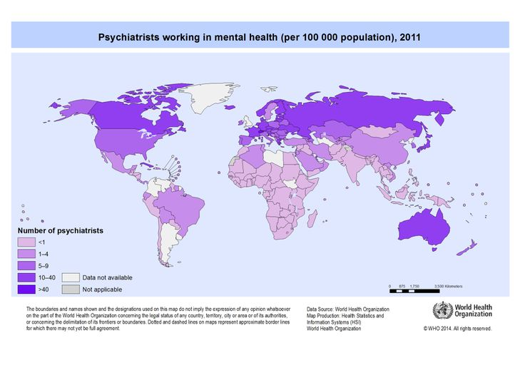 Psychiatrists working in mental health per 100,000 population, 2014.