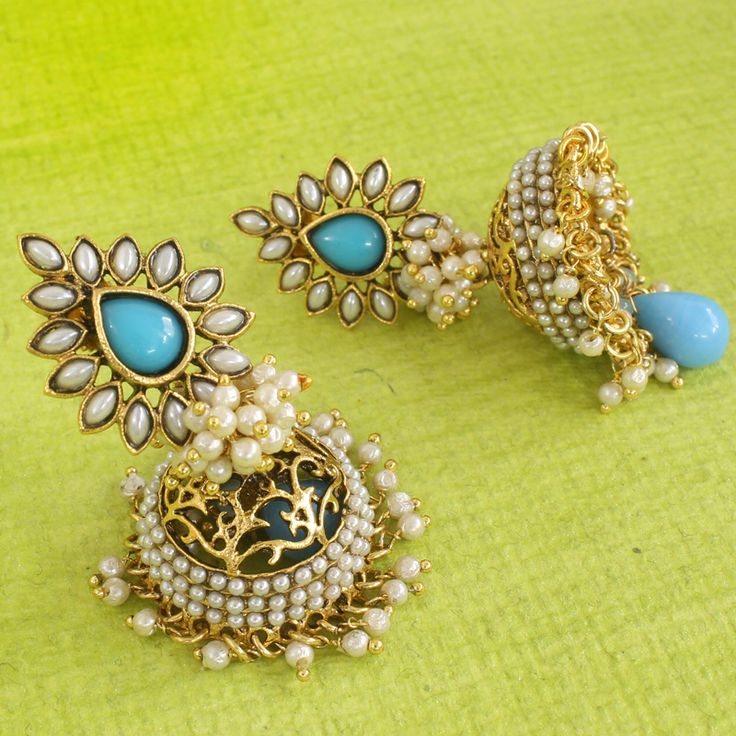 Gold Plated Turquoise Jhumki Earrings @ IndiatrenD For $33.99USD