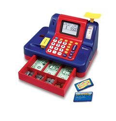 Talking, interactive cash register helps children practice early math and money skills through pretend play fun Cash register features a built-in scanner, scale, lights, sounds, voice messages, and coin slot and includes life size play money (coin and bills), credit cards, and coupon card Four built-in learning activities, each with three difficulty levels, keep learning stimulating and fresh Automatic shut-off saves batteries
