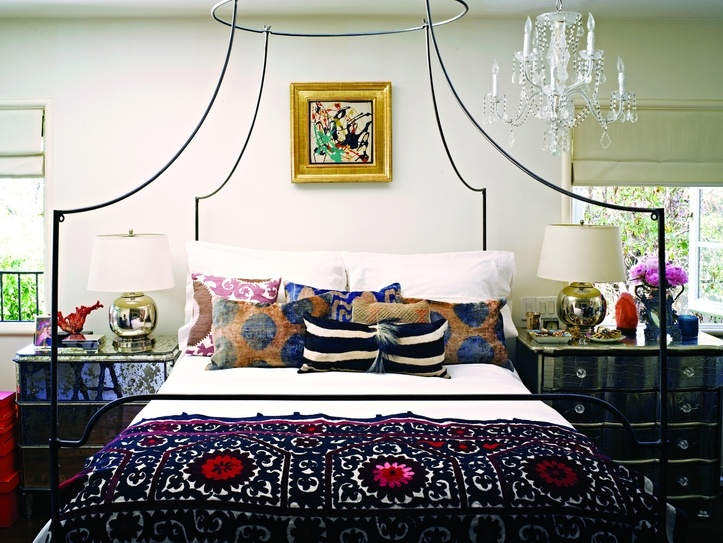 Bold boho eclectic bedroom of Jacqui Getty