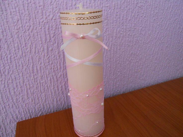 Vela para bautizo decorada con encaje lazo de raso y - Velas decoradas para bautizo ...