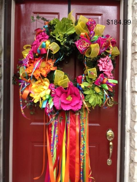 Fiesta wreath flowers with yellow mesh